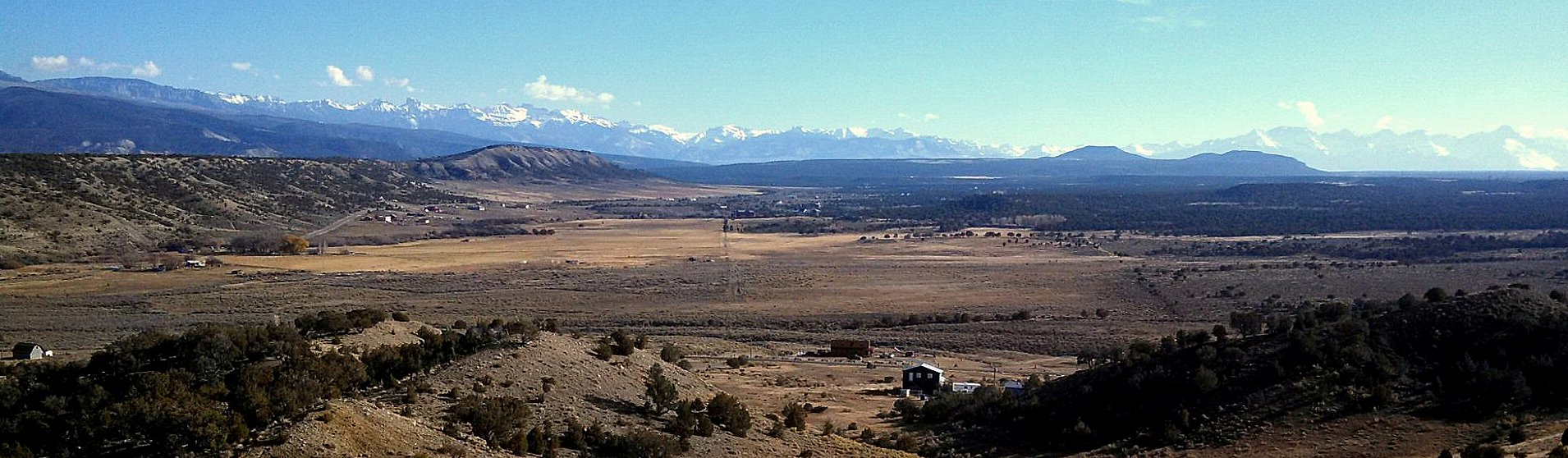 The San Juan Range in the distance south of Montrose